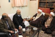 رئیس و معاونین ستاد بازسازی عتبات عالیات در دیدار با حضرت آیت الله العظمی صافی گلپایگانی