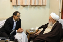 دیدار وزیر بهداشت، درمان و آموزش پزشکی؛ آقای دکتر سید حسن قاضیزاده هاشمی با حضرت آیتالله العظمی صافی گلپایگانی