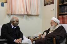 آقای حسن پلارک؛ رئیس ستاد بازسازی عتبات عالیات در دیدار با حضرت آیت الله العظمی صافی گلپایگانی